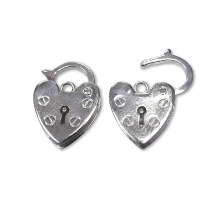11mm Heart Padlock Sterling Silver