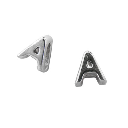 5mm Slider Alphabet Beads Sterling Silver Letter A