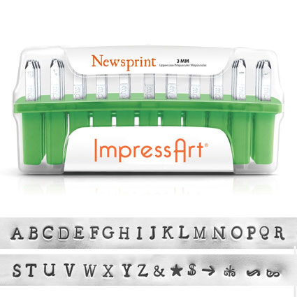 ImpressArt Newsprint Uppercase Stamp Set 3mm