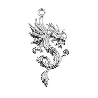 33mm Dragon Pendant Sterling Silver