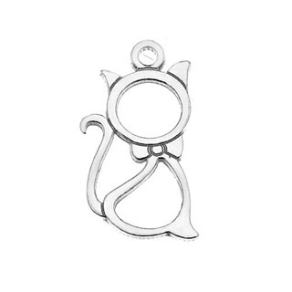 12mm Open Cat Charm Sterling Silver