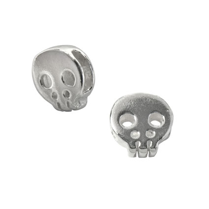 5.5mm Skull Slider Bead Sterling Silver